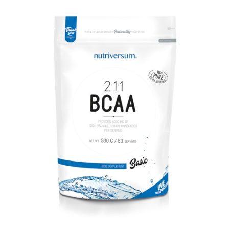 Basic 100% BCAA 2:1:1 500g ízesítetlen aminosav táplálékkiegészítő