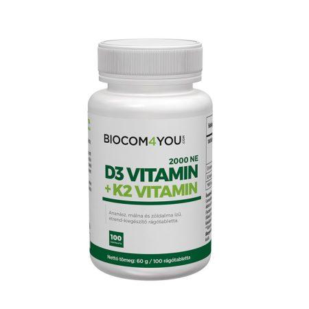 Biocom Vitamin D3 2000 IU (K2 vitaminnal) 100 tabletta