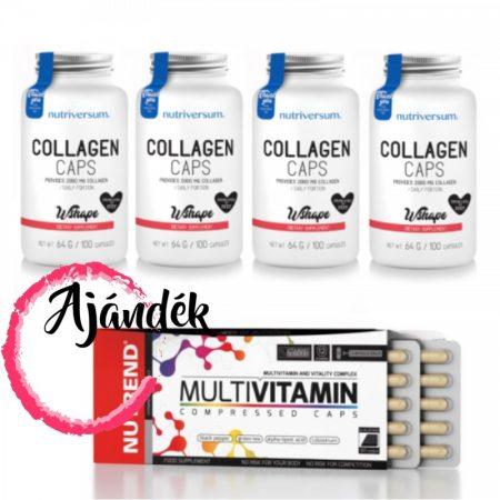 WSHAPE Collagen 100 kapszula (4db) + Multivitamin Compressed Caps 60 kapszula (1db)
