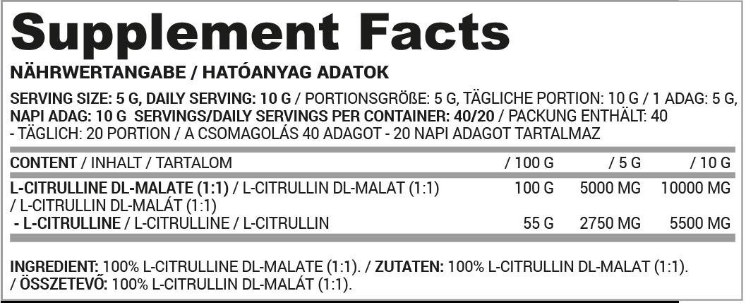 Nutriversum Citrulline Malate tápanyag táblázat