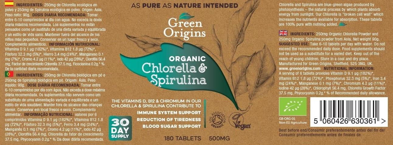 Green Origins BIO Chlorella és Spirulina tabletta