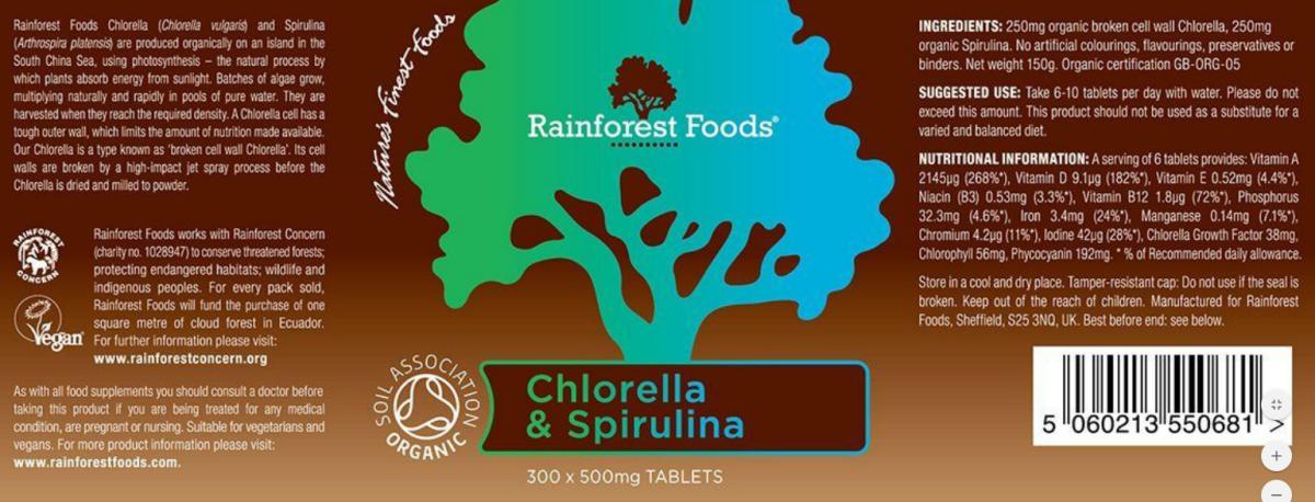 Rainforest Foods BIO Chlorella és Spirulina