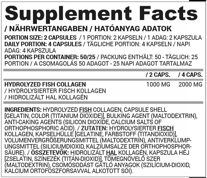 Nutriversum Fish Collagen tápanyag táblázat