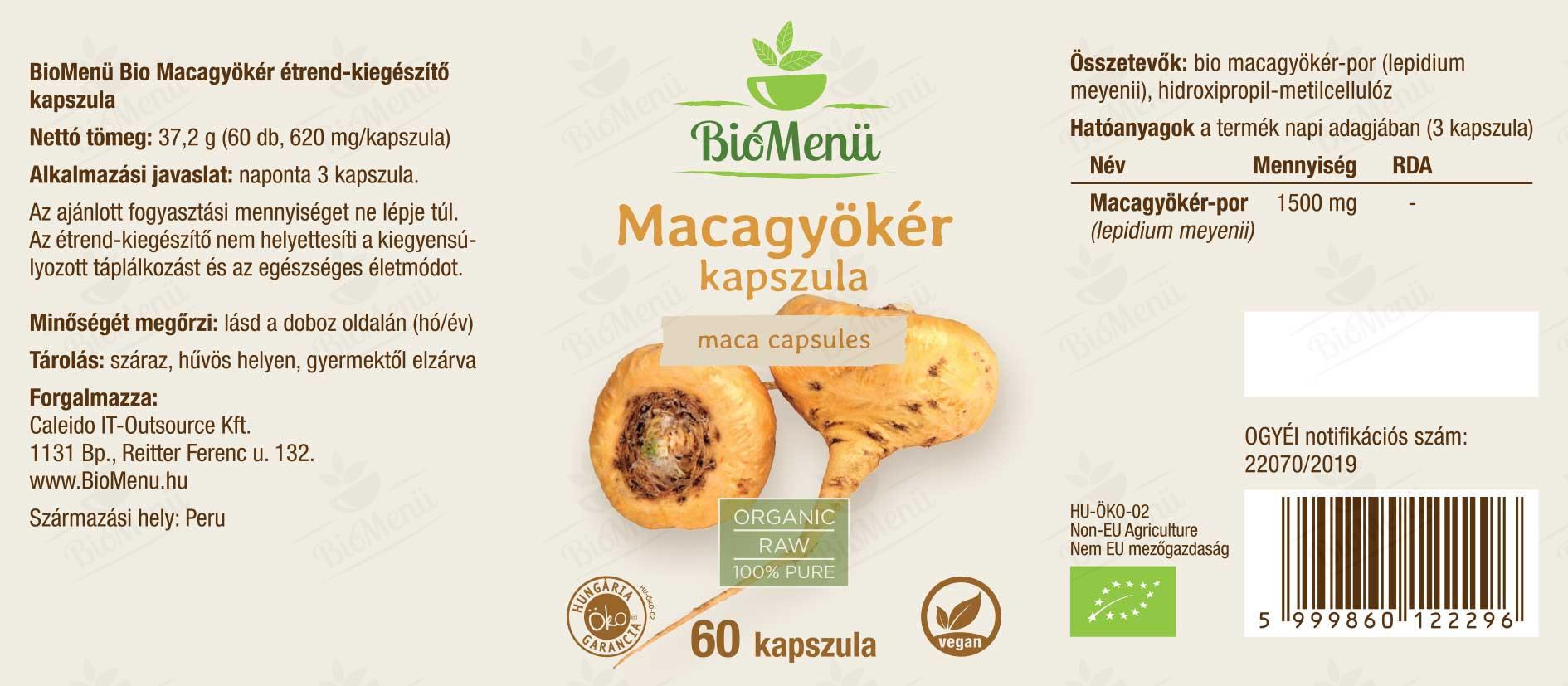 BioMenü BIO MACAGYÖKÉR kapszula címke