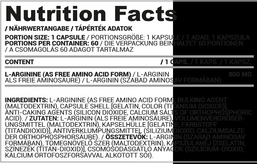 Nutriversum L-arginine kapszula összetétel
