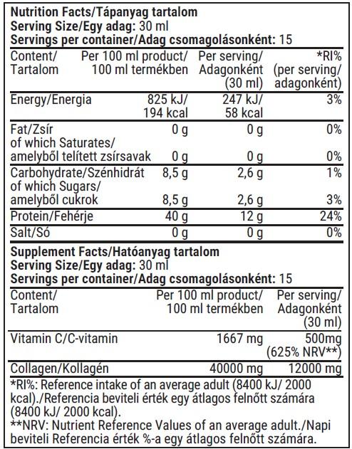 Fittprotein Collagen 12000mg tápértéktáblázat