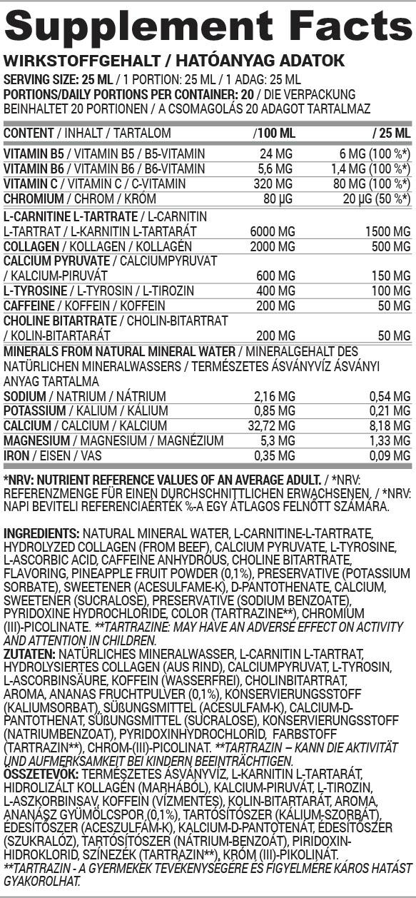 Fat Burner liquid hatóanyag táblázat